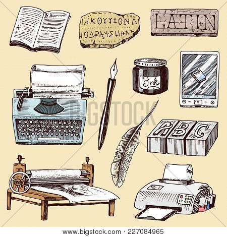 Book-printing Typography Writer Author Vector Publishing House History Hand Drawn Typewriter Work Bo