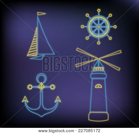 Set Of Marine Neon Icons: Ship, Lighthouse, Anchor And Steering Wheel