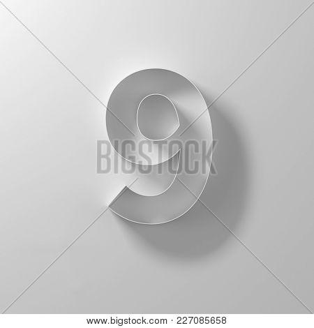 9, nine,  white paper number, 3d illustration