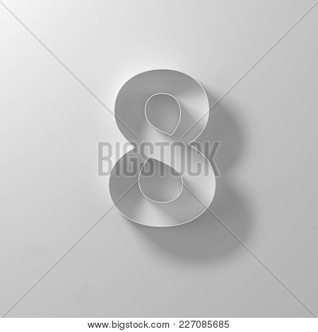 8, eight, white paper number, 3d illustration