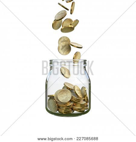 coins fill a glass jar, 3d illustration