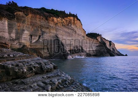 View Of White Rocks And The Ionian Sea At Sunset.