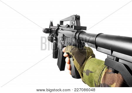 Vr First Person View Of A Soldier Hand Holding Automatic Rifle Side View.