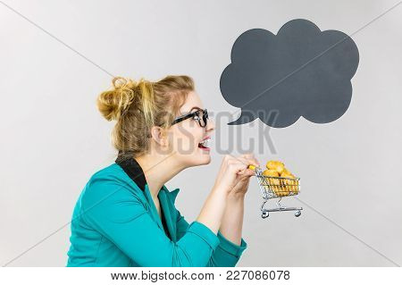 Buying Gluten Food Products Concept. Bussines Woman Holding Shopping Cart Trolley With Sweet Bun, Bl