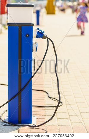 Outdoor Electricity Charger In Marina Jetty Pier For Boats Power Supply And Charging Batteries.