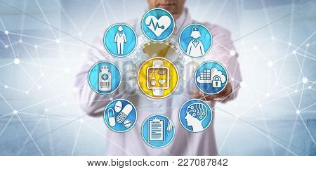 Unrecognizable pharmaceutical researcher is monitoring a female participant in a clinical trial via a wearable smart watch. Medical technology and internet concept for tech togs, IoT and IoMT. poster