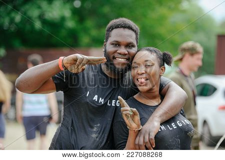 Black Women And Men At The Finish Line During The Race To Survive On Legion Run, Held In Kiev