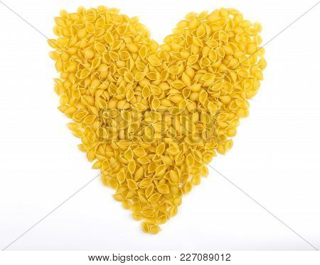 Pasta On A White Background Iew From Above