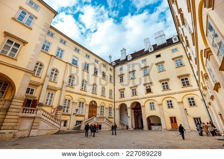 Vienna, Austria, October 13, 2016: A View Of The Courtyard Of Hofburg Palace In Vienna, Austria