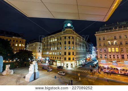 Vienna, Austria, October 13, 2016: A Night  View Of The Famous State Opera In Vienna , Austria