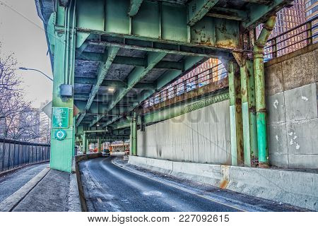 New York City, New York, Usa, Jan 2018, South Street In  Downtown Manhattan By The Fdr Drive