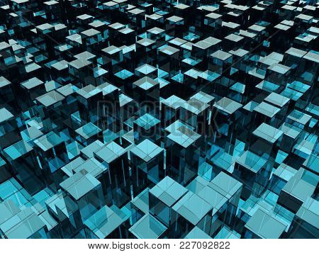 Blue Glass Blocks of Random Height Background. Abstract Technology Backdrop. 3D Illustration.