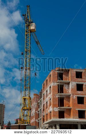 Close-up Of A Crane At A Construction Site.