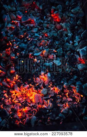 Hot Coals And Burning Woods In Bbq Grill. Glowing And Flaming Charcoal, Barbecue Pit, Bright Red Fir
