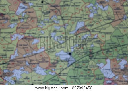The Terrain Map Blurred. Cartographic Disfocused Background