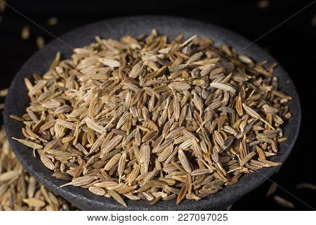 Macro Collection, Aromatic Dried Seasoning Cumin Close Up On Black Background