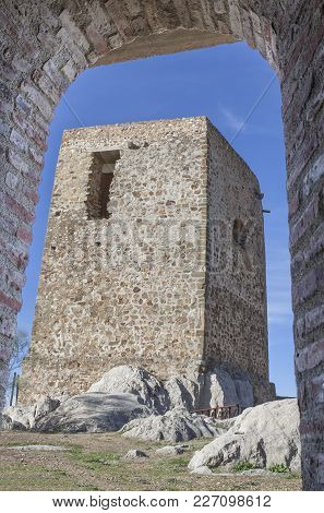 Castle Of Belmez Tower Of Homage, Cordoba, Spain. Situated On The High Rocky Hill Overlooking Town O