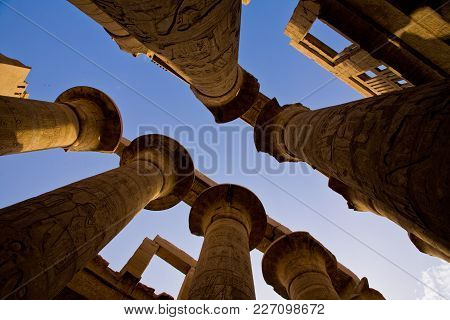 Columns In The Karnak Temple Hypostyle Hall, Egypt