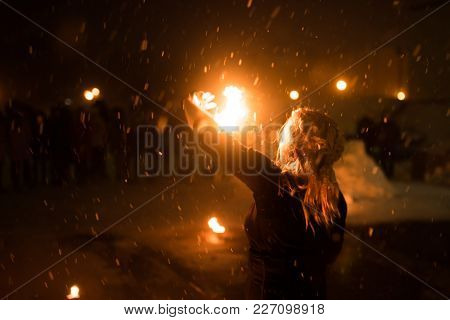 Girl With A Fireball In Her Hands, In The Dark, For Any Purpose