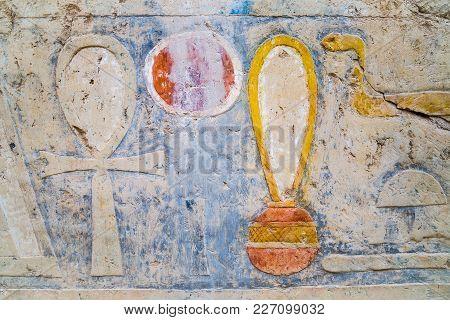 Hieroglyphs In The Temple Of Hatshepsut, Egypt