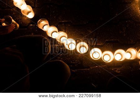 Burning Candles In Cups, In The Dark, For Any Purpose