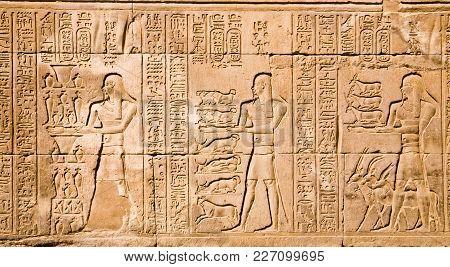 Hieroglyphs In The Kom Ombo Temple, Egypt
