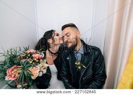 Wedding In The Style Of Rock. Rocker Or Biker Wedding.
