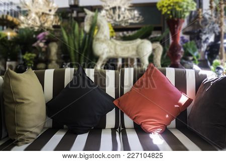 Modern Interior With Sofa And Pillows, Stock Photo
