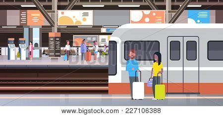 Railway Station With People Passengers Going Off Train Holding Bags Transport And Transportation Con