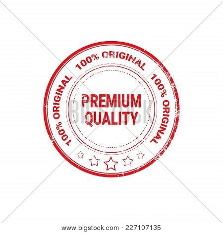 Premium Quality Seal Red Grunge Label Isolated Sticker Icon Vector Illustration