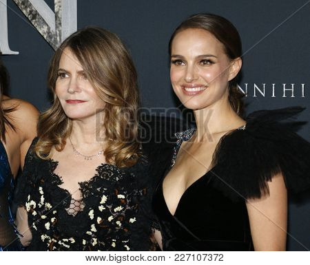 Natalie Portman and Jennifer Jason Leigh at the Los Angeles premiere of 'Annihilation' held at the Regency Village Theater in Westwood, USA on February 13, 2018.