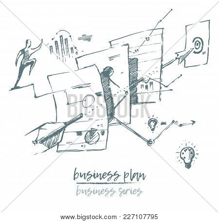 Business Concept Illustration Of A Process Of Business Plan, Vector Illustration, Hand Drawn, Sketch