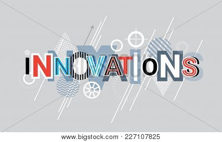 Innovations Technology Creative Word Over Abstract Geometric Shapes Background Web Banner Vector Ill