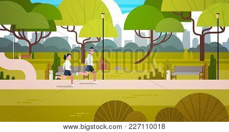 Young Couple Jogging Outdoors In Modern Public Park Flat Vector Illustration