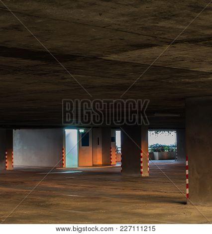 Light Of Emergency Exit Room In Parking Garage