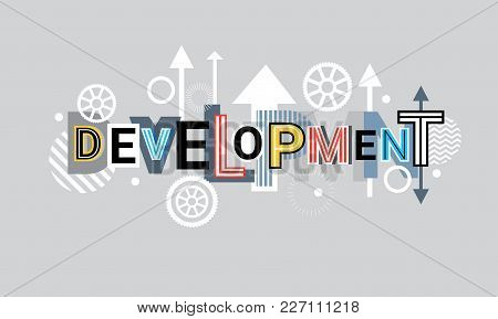 Development Creative Word Over Abstract Geometric Shapes Background Web Banner Vector Illustration
