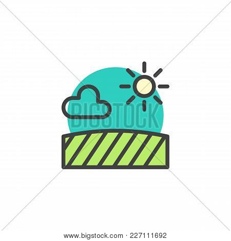 Field With Sun Cloud Filled Outline Icon, Line Vector Sign, Linear Colorful Pictogram Isolated On Wh