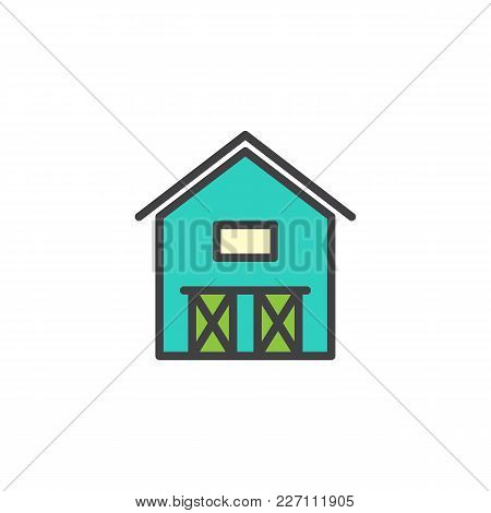 Barn House Filled Outline Icon, Line Vector Sign, Linear Colorful Pictogram Isolated On White. Hanga