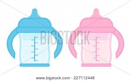 Baby Sippy Cup, Blue And Pink, Isolated On White Background. Vector Illustration Of Toddler Feeding