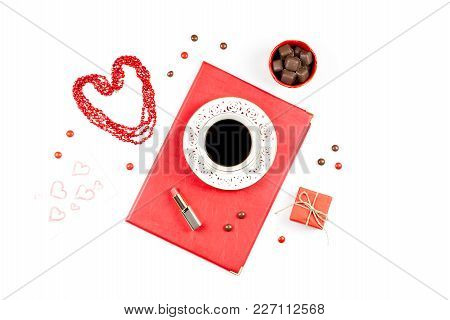 Coffee Cup, Sweets, Lipstick, Heart Shape And Giftbox On White Background. Women's Day Concept Flat