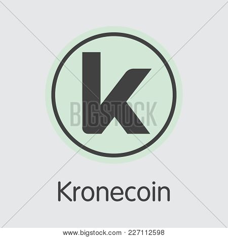 Kronecoin. Digital Currency. Krone Colored Logo Isolated On Grey Background. Stock Vector Sign Icon.