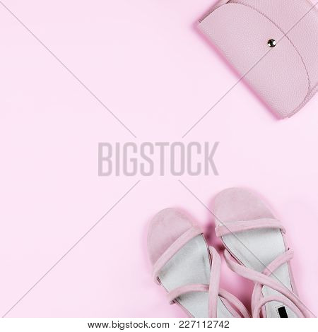 Women Stylish, Elegant Fashion Flat Lay. Trendy Sandals, Purse In Pink Color. Copy Space