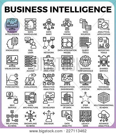 Business Intelligence(bi) Concept Icons