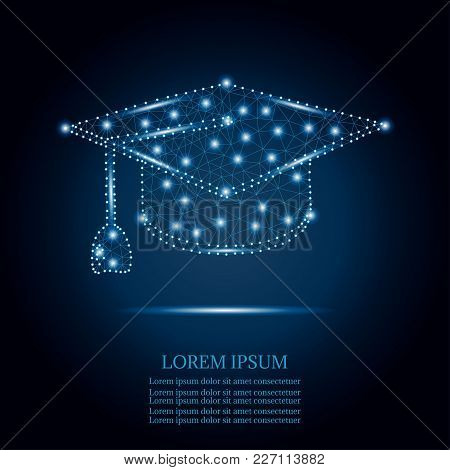 Polygonal Graduation Cap With Line And Point, Isolated On Blue Sky Background. Business, Education C