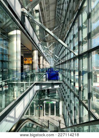 LONDON - FEBRUARY 16, 2018: Interior view of airside departures in Terminal 5 at London Heathrow International Airport, London, UK.