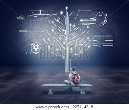 Man Sitting On A Bench And Looks To The Circuit Board Tree In The Office. Network Concept.