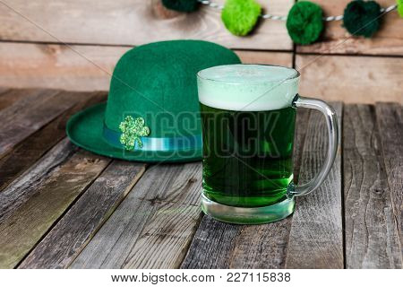 Mug Of Green Beer With Irish Festive Hat