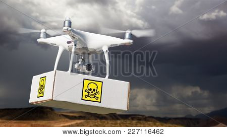 Unmanned Aircraft System (UAV) Quadcopter Drone Carrying Package With Poison Symbol Label Near Stormy Skies.