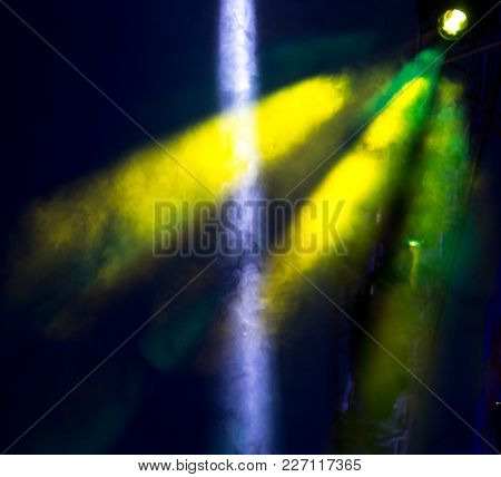 Color Searchlight At A Concert At Night .