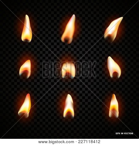 Candle Fire Flame Isolated. Realistic Candle Bright Flame Decoration